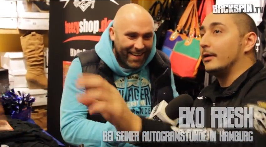 Eko Fresh im Interview bei seiner Autogrammstunde mit Backspin TV (Video-Interview)
